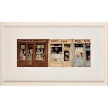 BARRY E. J. SMITH (CONTEMPORARY AUSTRALIAN/BRITISH) PARISIAN SHOP FRONTS 15.5cm x 41.5cm (6.25in x 16.25in)