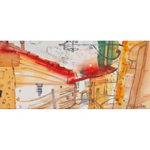 [§] GLEN SCOULLER R.S.W., R.G.I. (SCOTTISH CONTEMPORARY) WINDING STREET, ASSISI 10cm x 21cm (4in x 8.25in) and another 'Landscape To..
