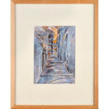 RICHARD DEMARCO O.B.E., H.R.S.A., H.R.W.S., R.S.W. (SCOTTISH B.1930) STREET WITH STEPS, PICINISCO 28cm x 20cm (11in x 8in)