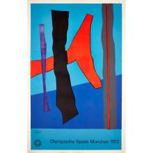 [§] MUNICH OLYMPIC GAMES FIVE PRINTS FROM THE ART POSTER SERIES, 1972 106cm x 70.5cm (41.75in x 27.75in) approx., sizes vary