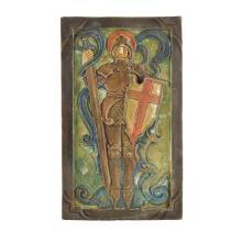 COMPTON POTTER'S GUILD ARTS & CRAFTS POTTERY PLAQUE OF ST. GEORGE, CIRCA 1920 20.3cm x 12cm