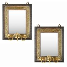AESTHETIC MOVEMENT PAIR OF BRASS AND CARVED WOOD MIRRORED SCONCES, CIRCA 1890 44cm x 36cm