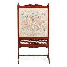 WILLIAM MORRIS (1834-1896) FOR MORRIS & CO. MAHOGANY FRAMED EMBROIDERED FIRESCREEN, CIRCA 1880 panel 58 x 57.5cm, screen 115 x 63cm