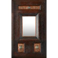 ATTRIBUTED TO TALWIN MORRIS RARE GLASGOW SCHOOL OAK AND COPPER MOUNTED WALL MIRROR, CIRCA 1910 56cm x 35cm