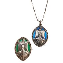ALEXANDER RITCHIE (1856-1941) IONA CELTIC REVIVAL SILVER & ENAMEL PENDANT AND BROOCH, CIRCA 1920
