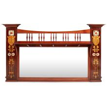 SHAPLAND & PETTER, BARNSTAPLE ARTS & CRAFTS INLAID MAHOGANY OVERMANTEL MIRROR, CIRCA 1900 146cm wide, 85cm high, 17cm deep