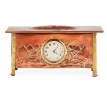 MANNER OF GEORGE WALTON ARTS & CRAFTS COPPER AND BRASS MANTEL CLOCK, CIRCA 1910 37cm wide, 18.5cm high, 11.5cm deep