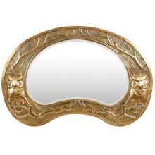 GLASGOW SCHOOL ARTS & CRAFTS BRASS FRAMED WALL MIRROR, CIRCA 1900 76cm wide, 45cm tall