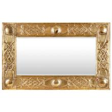 SCOTTISH SCHOOL ARTS & CRAFTS CELTIC REVIVAL BRASS FRAMED MIRROR, CIRCA 1920 42cm x 67cm
