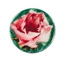 WEMYSS WARE 'CABBAGE ROSES' BUTTON, CIRCA 1900 3.3cm diameter