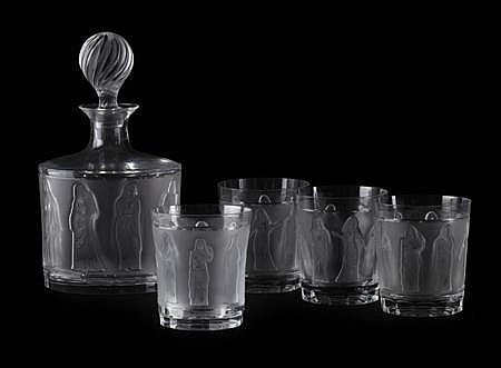 LALIQUE 'FEMMES ANTIQUES' CLEAR AND FROSTED GLASS DECANTER SET, MID 20TH CENTURY decanter, 26cm high