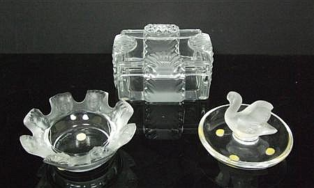 LALIQUE THREE CLEAR AND FROSTED GLASS WARES, POST 1945