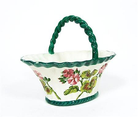 WEMYSS WARE 'GERANIUMS' SMALL BASKET, CIRCA 1900 20cm long