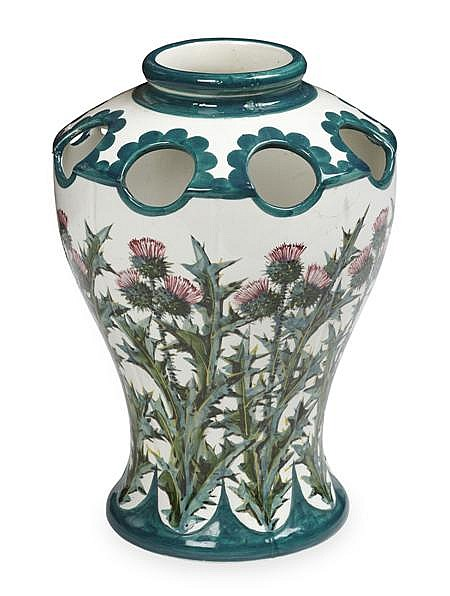 WEMYSS WARE 'THISTLES' KINTORE VASE, EARLY 20TH CENTURY 37cm high