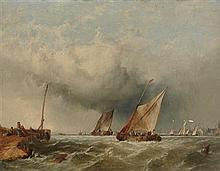 ALFRED MONTAGUE (BRITISH 1832-1883) BARGES OFF THE DUTCH COAST 36cm x 46cm (14in x 18in)