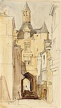§ SIR DAVID YOUNG CAMERON R.A., R.S.A., RS.W., R.W.S., R.E. (SCOTTISH 1865-1945) PORTE DE LA VILLE, AMBOISE 28.5cm x 16cm (11.25in x...