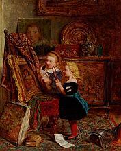 GEORGE SMITH (BRITISH 1829-1901) IN THE STUDIO 43cm x 36cm (17in x 14in)