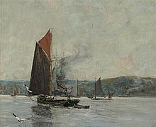 JAMES KAY R.S.A., R.S.W. (SCOTTISH 1858-1942) BARGES ON THE CLYDE 51cm x 61cm (20in x 24in)