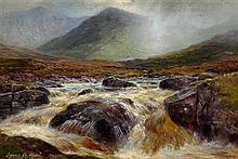 LOUIS BOSWORTH HURT (SCOTTISH 1856-1929) GLEN DOCHART 14cm x 22cm (5.5in x 8.5in) and a near pair 'A spate in Glen Sligachan, Skye'..