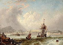 ATTRIBUTED TO JOHN WILSON EWBANK VIEW OF EDINBURGH AND LEITH FROM THE SEA 25.5cm x 35.5cm (10in x 14in)
