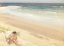 §SIR WILLIAM RUSSELL FLINT P.R.A., P.R.W.S., R.S.W., R.O.I., R.E. (SCOTTISH 1880-1969) PHYLLISS ALONE 48cm x 66cm (19in x 26in)