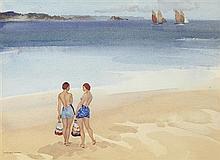 §SIR WILLIAM RUSSELL FLINT P.R.A., P.R.W.S., R.S.W., R.O.I., R.E. (SCOTTISH 1880-1969) SISTERS AT DINARD 24cm x 33cm (9.5in x 13in)