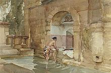 §SIR WILLIAM RUSSELL FLINT P.R.A., P.R.W.S., R.S.W., R.O.I., R.E. (SCOTTISH 1880-1969) THE BATH OF SUSANNA 36cm x 54cm (14in x 21in)