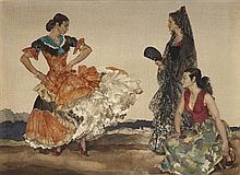 §SIR WILLIAM RUSSELL FLINT P.R.A., P.R.W.S., R.S.W., R.O.I., R.E. (SCOTTISH 1880-1969) THE DANCE OF THE THOUSAND FLOUNCES 49cm x 67c...
