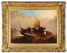 HENRY PERLEE PARKER (BRITISH 1795-1873) THE SMUGGLER'S RETURN 78.5cm x 109cm (31in x 43in)