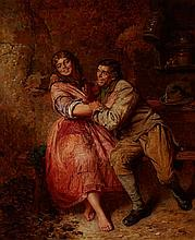 EDWIN THOMAS ROBERTS (BRITISH 1840-1917) 'DON'T TEASE ME NO MORE' 91cm x 76cm (36in x 30in)