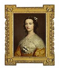 JOSEPH HIGHMORE (BRITISH 1692-1780) HALF LENGTH PORTRAIT OF ELIZABETH BANKS 63cm x 49cm (25in x 19.25in)