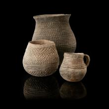 THREE PUEBLO COILED WARE JARS C. 900 - 1300 AD tallest 21cm