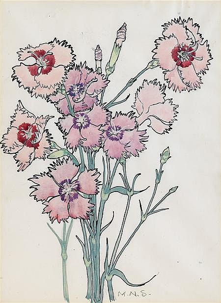 * § MARY NEWBERY STURROCK (BRITISH 1892-1985) 'CARNATIONS' 27 x 20cm (103/4 x 8in)