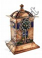 * MARGARET DE COURCY LEWTHWAITE DEWAR (SCOTTISH 1878-1959) COPPER AND ENAMEL MANTEL CLOCK, CIRCA 1900 31cm (12in) high x 19.5cm (7½in).