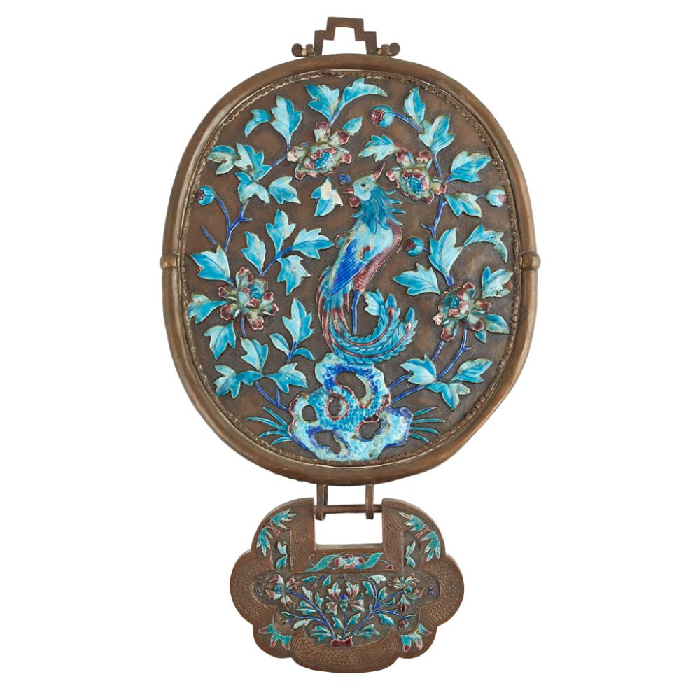 WHITE METAL ENAMEL HANGING MIRROR QING DYNASTY, 19TH CENTURY 41cm high