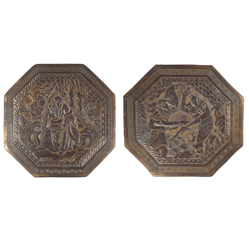 PAIR OF BRONZE OCTAGONAL PLAQUES QING DYNASTY 27.4cm wide