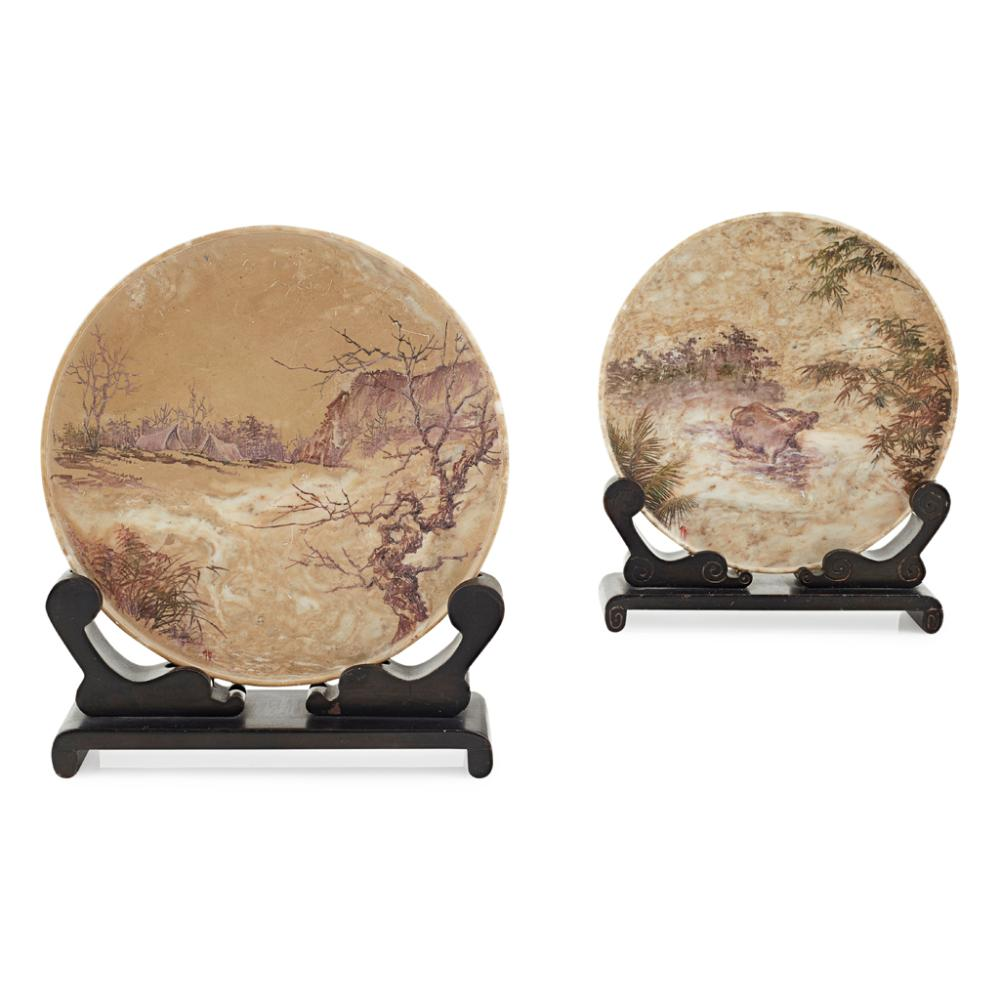 PAIR OF SOAPSTONE CIRCULAR TABLE SCREENS REPUBLIC PERIOD 13.9cm diameter