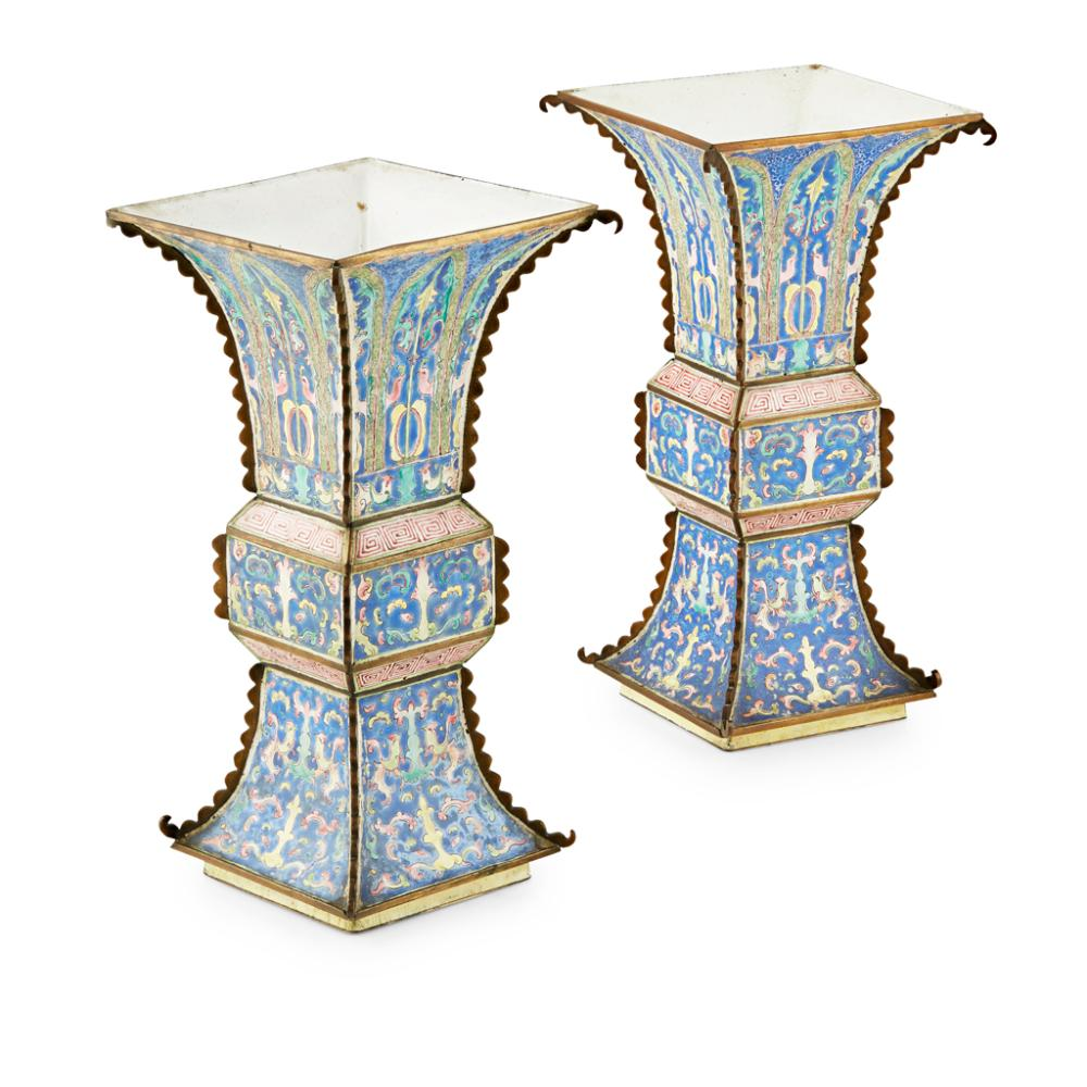 PAIR OF CANTON ENAMEL VASES, FANG GU QING DYNASTY, 18TH/19TH CENTURY 24cm high