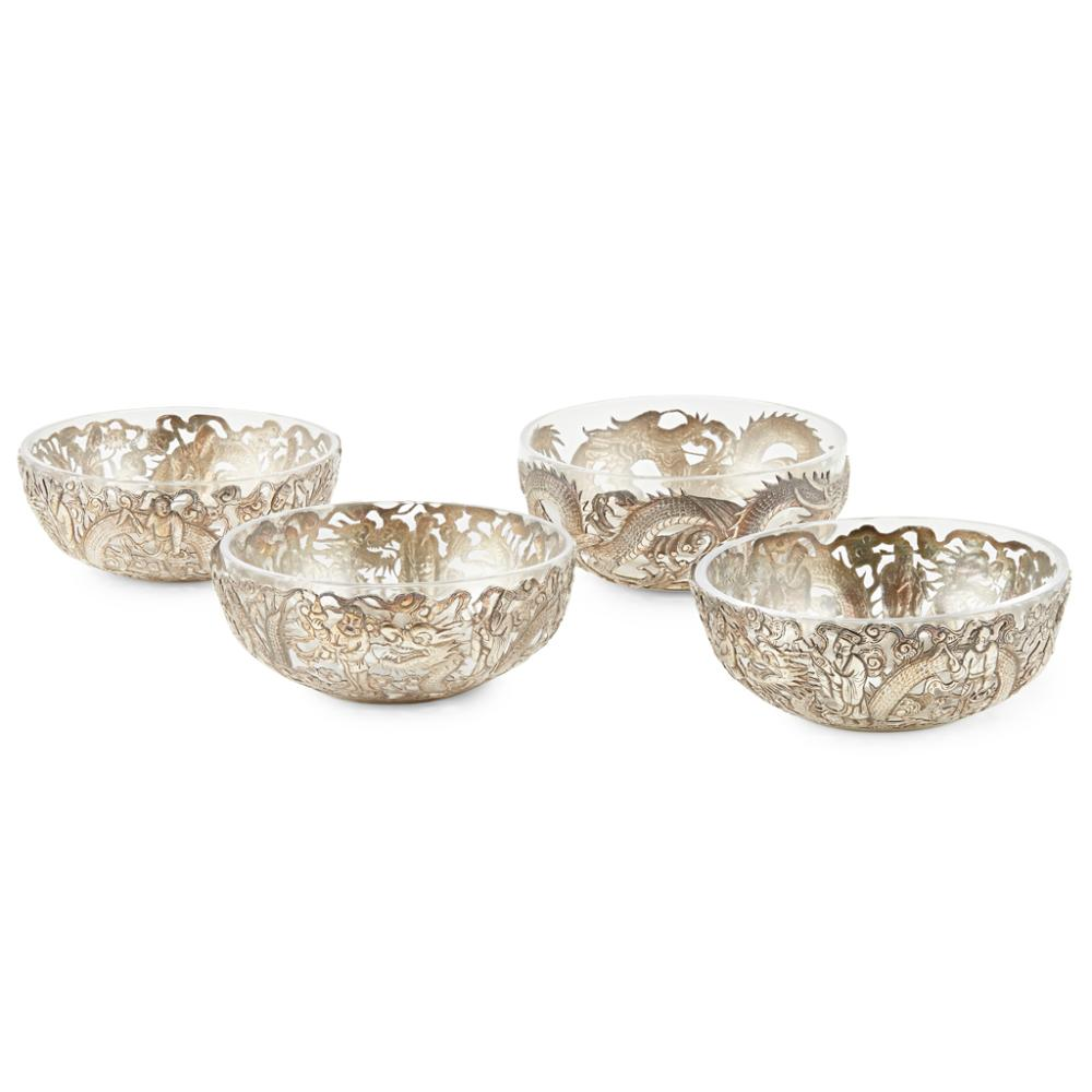 FOUR RETICULATED SILVER BOWLS THREE WITH HONG HE AND HC MARKS, LATE QING DYNASTY 12cm diameter