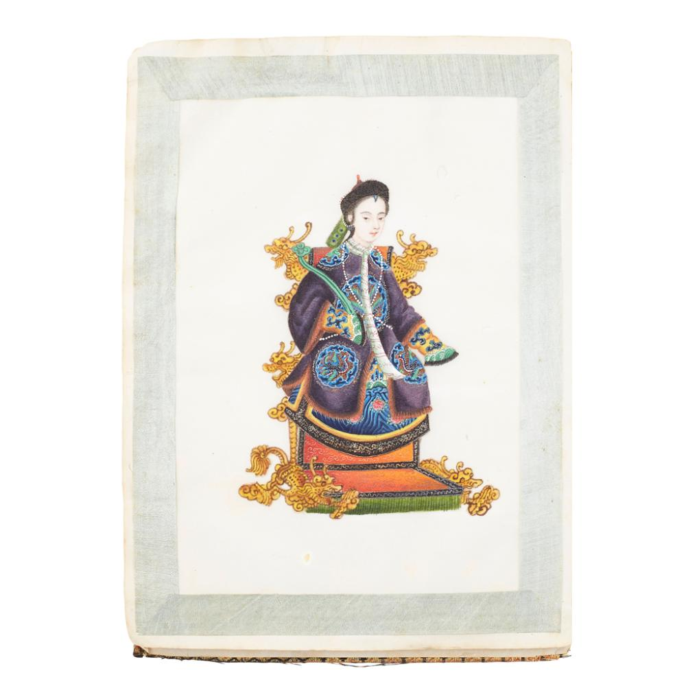 ALBUM OF TWELVE PITH PAPER PAINTINGS QING DYNASTY, 19TH CENTURY 23cm x 16.5cm (overall)