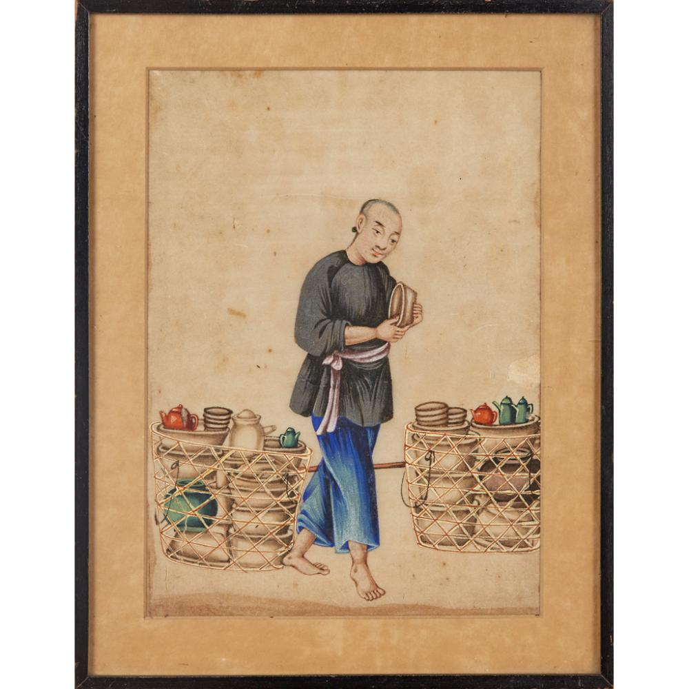 FIVE RICE PAPER PAINTINGS DEPICTING STREET VENDORS QING DYNASTY, 19TH CENTURY 28.5cm x 23cm (overall)