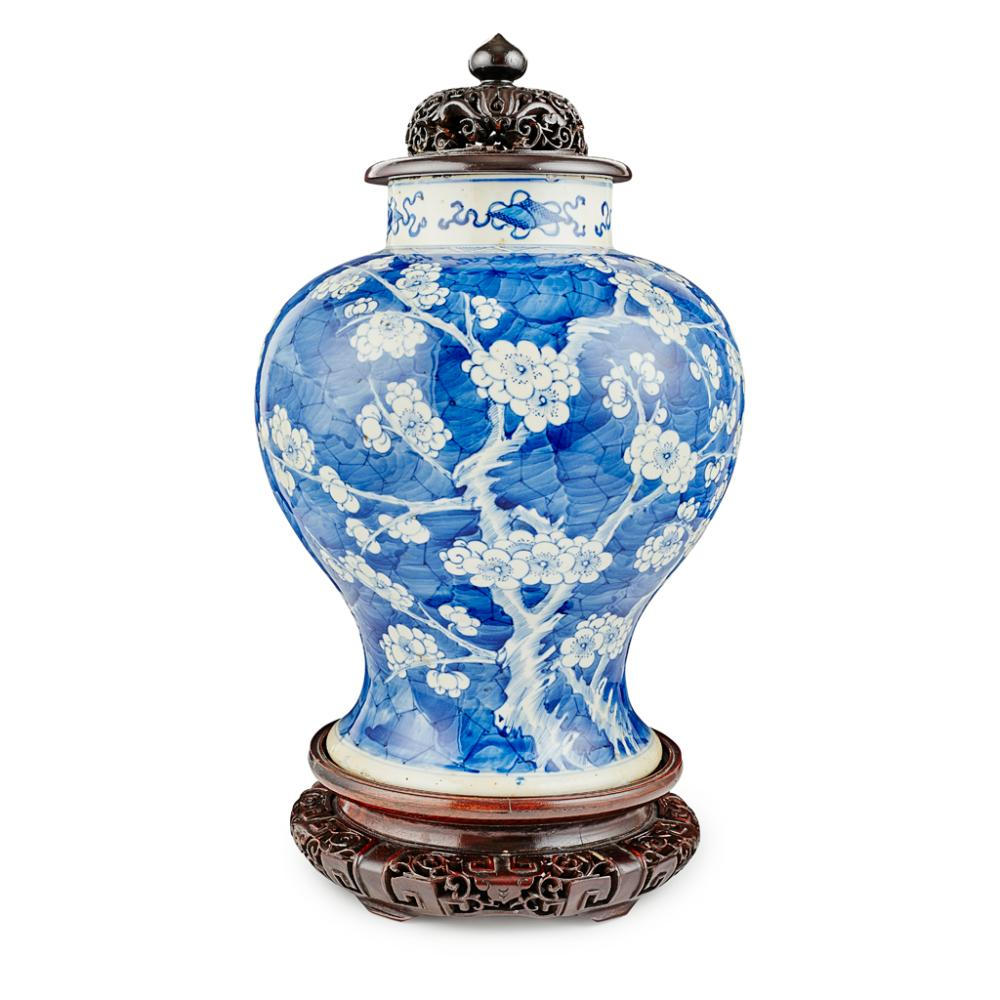 BLUE AND WHITE 'CRACKED ICE AND PRUNUS' BALUSTER JAR KANGXI PERIOD 32cm high (excluding stand and cover)