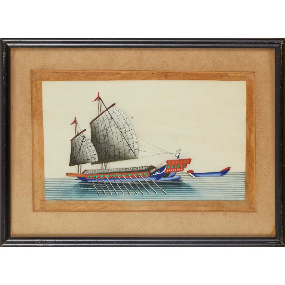 TWO PITH PAPER PAINTINGS DEPICTING JUNKS QING DYNASTY, 19TH CENTURY 20cm x 12.5cm (sight)