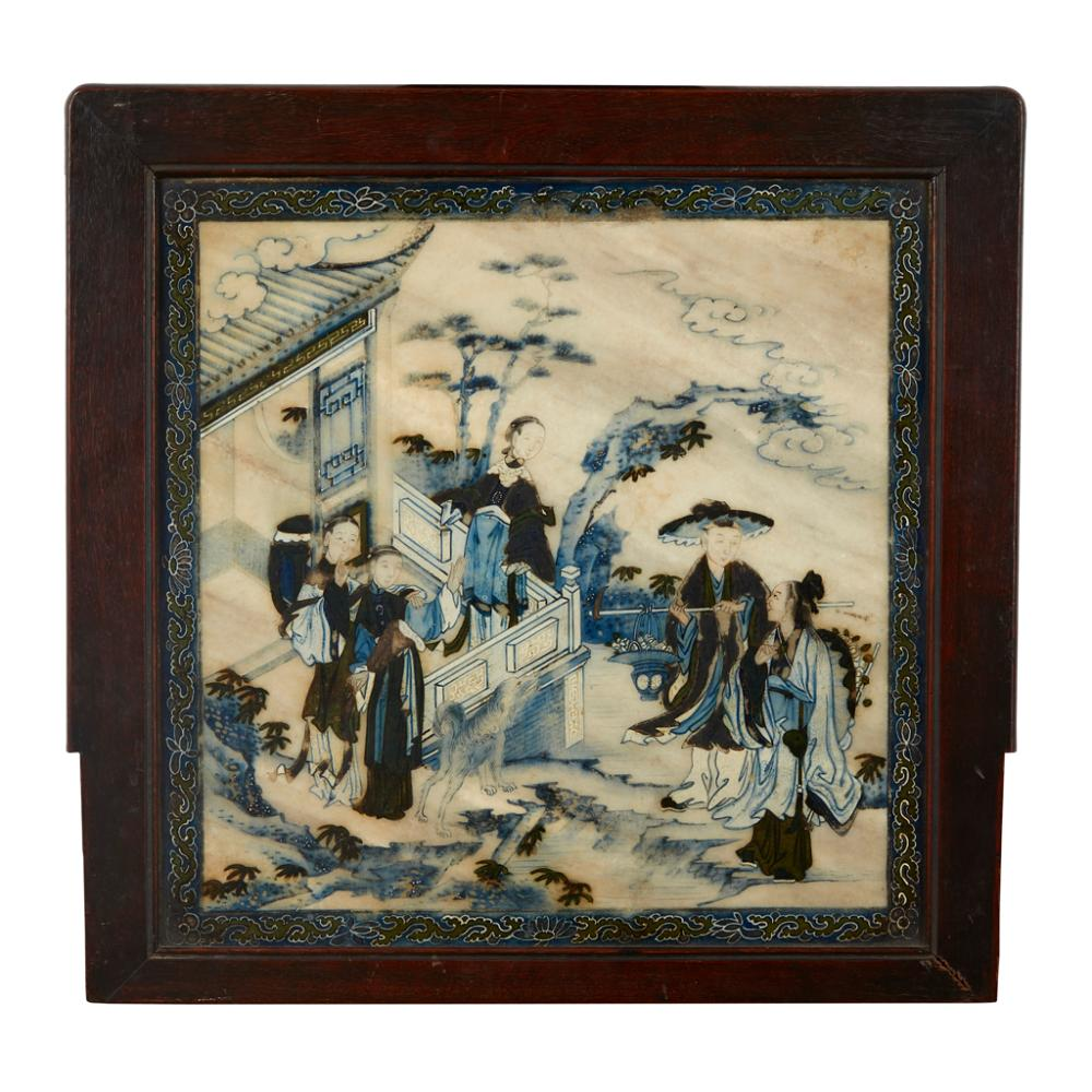 PAINTED MARBLE PLAQUE LATE QING DYNASTY plaque 31cm x 32cm
