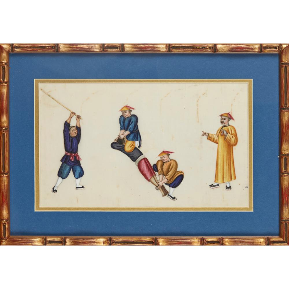 SIX PITH PAPER PAINTINGS DEPICTING PUNISHMENT AND TORTURE QING DYNASTY, 19TH CENTURY 28cm x 16.5cm (sight)