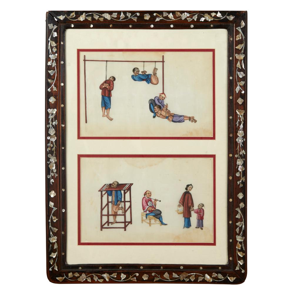 TWO PITH PAPER PAINTINGS OF TORTURE SCENES QING DYNASTY, 19TH CENTURY each leaf 18cm x 28cm (sight)