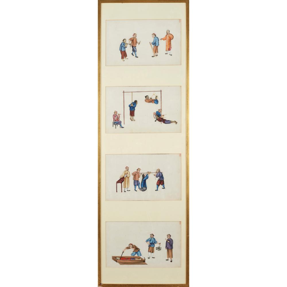 FOUR PAINTINGS ON PITH PAPER DEPICTING TORTURE SCENES QING DYNASTY, 19TH CENTURY each leaf 19cm x 31cm