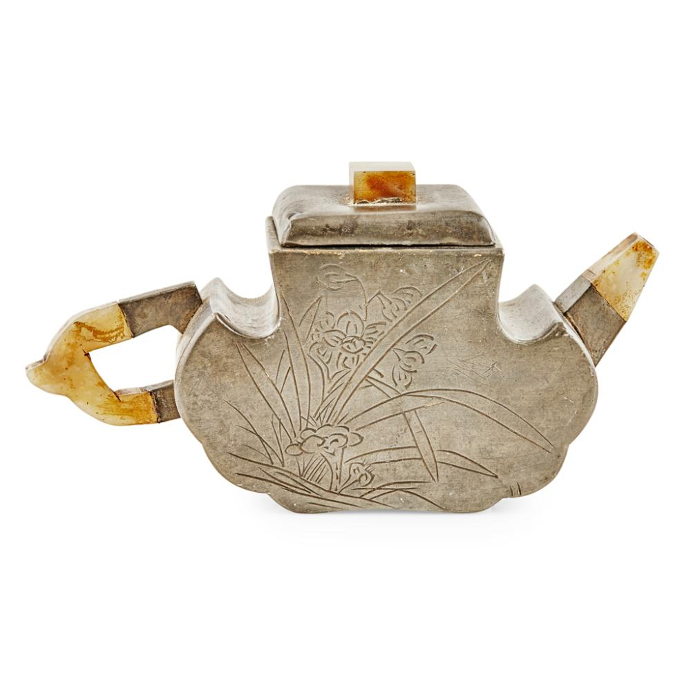 PEWTER-ENCASED YIXING STONEWARE TEAPOT AND COVER BY FAN LUZENG AND ZHI AN, LATE QING DYNASTY 18cm wide