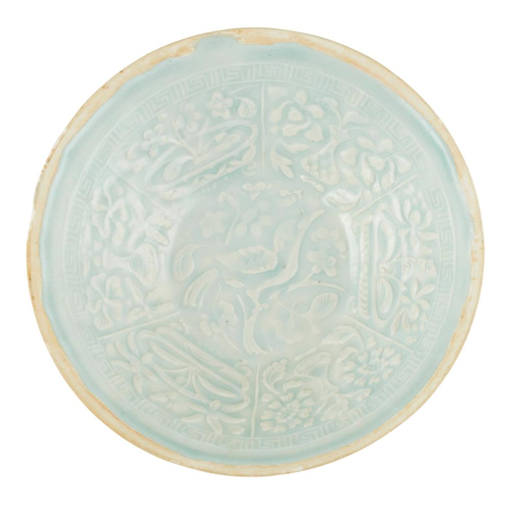 MOULDED QINGBAI BOWL SOUTHERN SONG/YUAN DYNASTY 18.4cm diameter