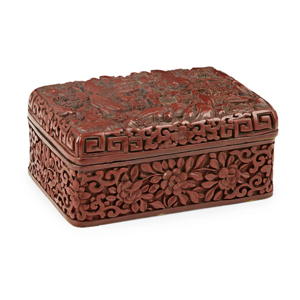 CINNABAR LACQUER RECTANGULAR BOX AND COVER LATE QING DYNASTY/REPUBLIC PERIOD 13cm wide